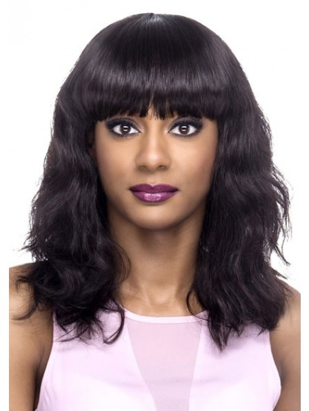New Design 100% Remy Natural Human Hair Wig With Full Bangs