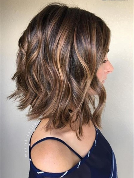 12 Inches Mixed Color Bob Wavy Human Hair Lace Front Wig