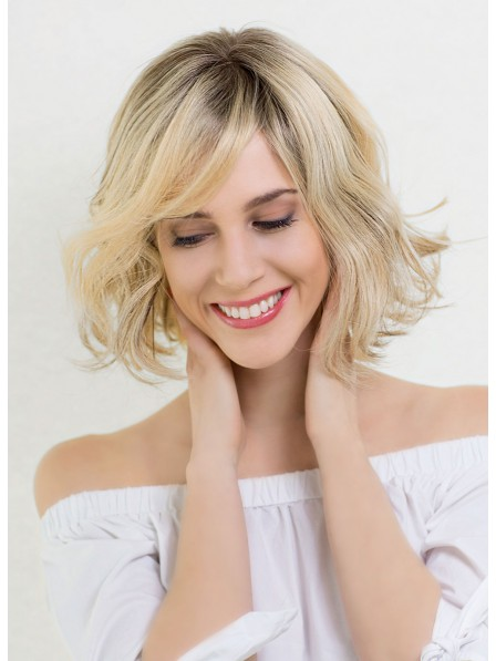 Cute Blonde Short Bob Wigs with Waves For Ladies