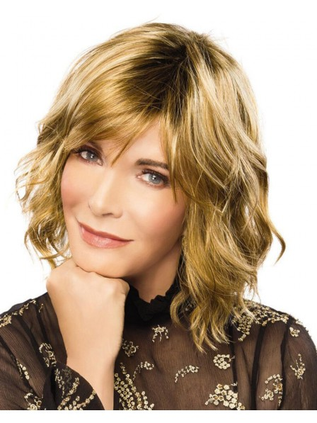 Shoulder-Length Bob Wig With Lightly Tousled Layers Of Beachy Waves