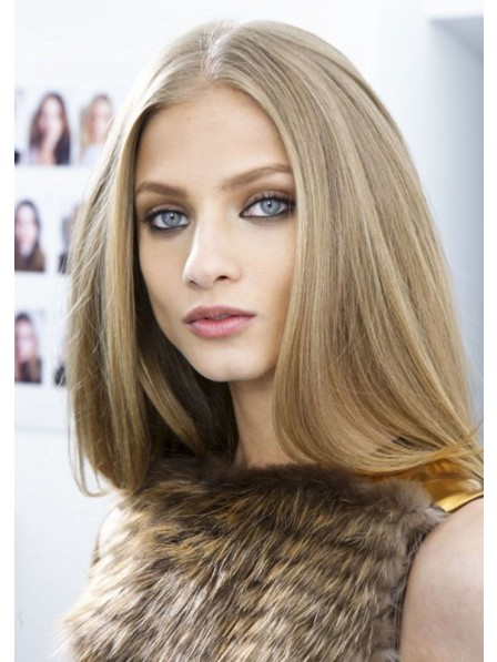 Long Straight Blonde Human Hair Lace Front Mono Top Wig