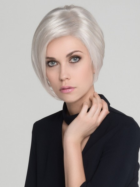 Straight Gray Synthetic Lace Front Mono Top Wig