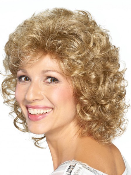 Classic Curly Cut Medium Synthetic Blonde Hair Bob Wig