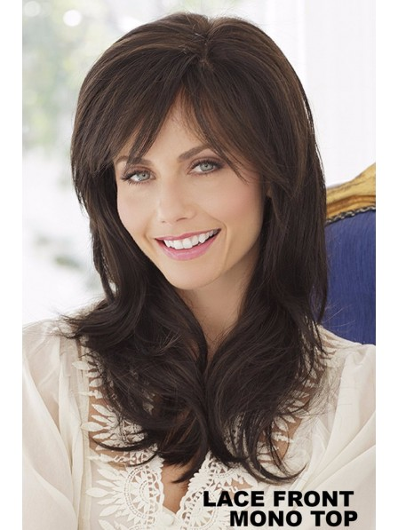 Best Lace Front Mono Top Dark Brown Ladies Long Layered Wig
