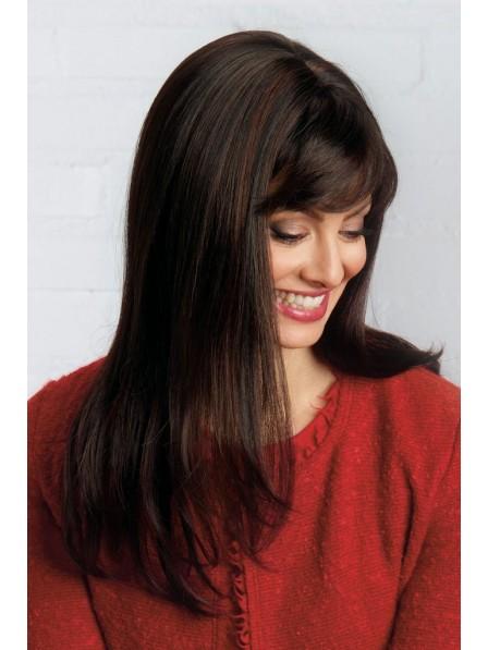 Natural Long Look Human Hair Lace Front Mono Top Wig
