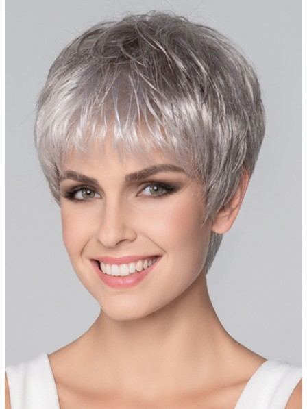 Fast Ship Cheap Straight Cropped Hair Celebrity Grey Wigs