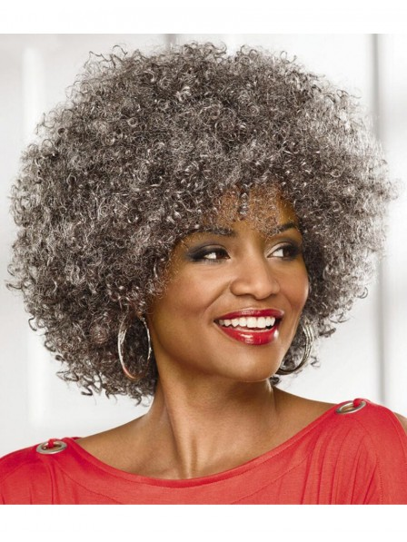 Big Afro Old Women's Capless Grey Wig Fast Ship