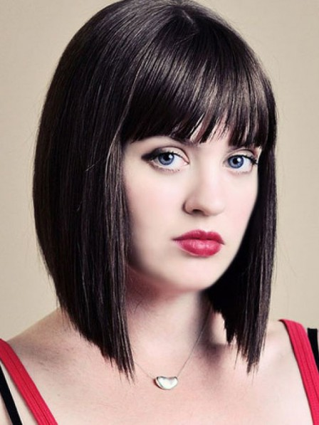 Black Lace Front Mono Top Chin Length 100% Human Hair Bob Wigs