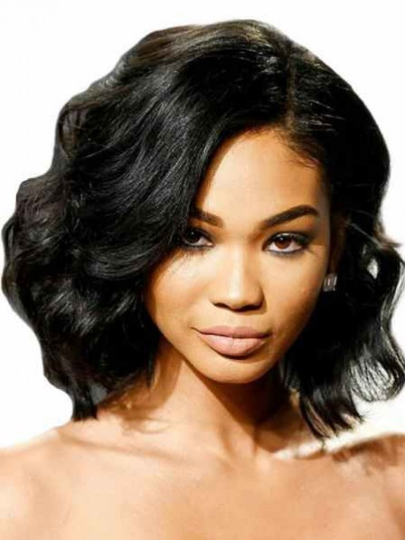 Black Wavy Monofilament Synthetic Celebrity Wig