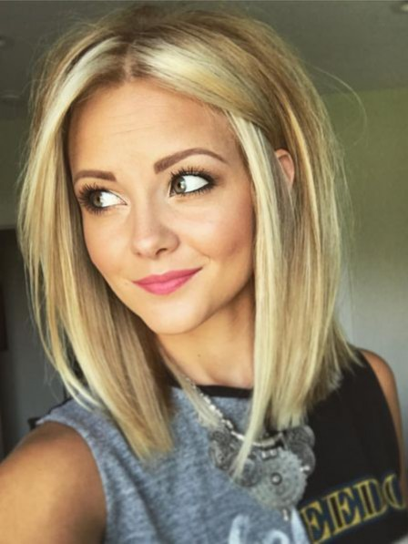 Blonde Lace Front Straight Synthetic Celebrity Wigs