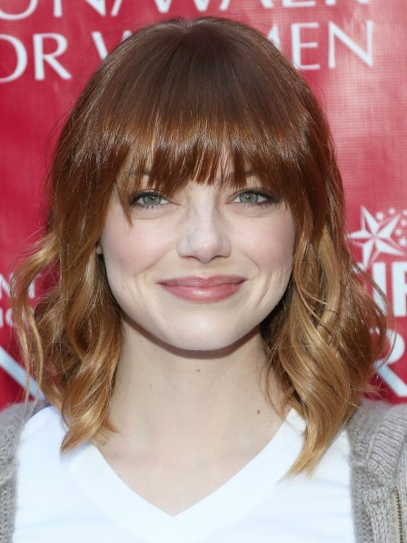 Blonde Layered Celebrity Wigs Human Hair With Bangs
