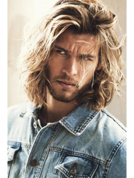 Latest Blonde Men's Wavy Long Hair Wigs Capless New Style
