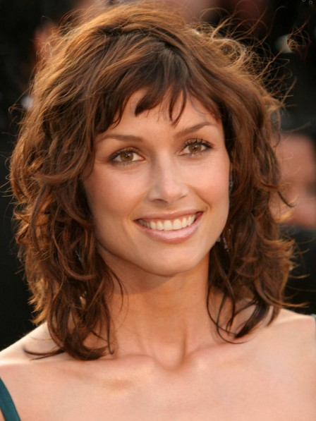 Bridget Moynahan's Shag Layers Haircut Brown Wigs Human Hair