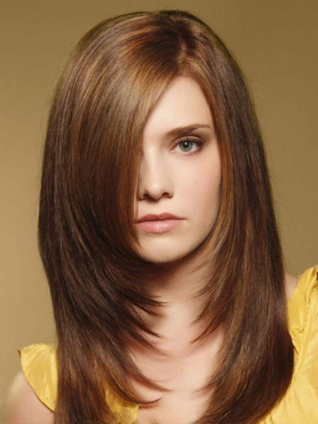 Brown Natural Look Lace Front Synthetic Celebrity Wigs