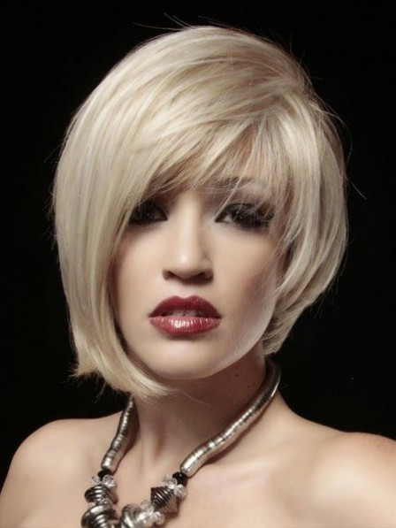 Cheap Lace Front Chin Length Synthetic Celebrity Wigs With Bangs