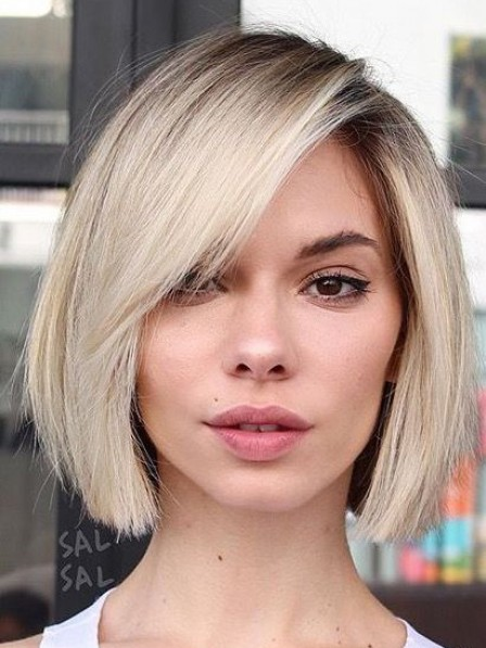 Chin Length Indian Remy Human Hair Celebrity Bob Wigs