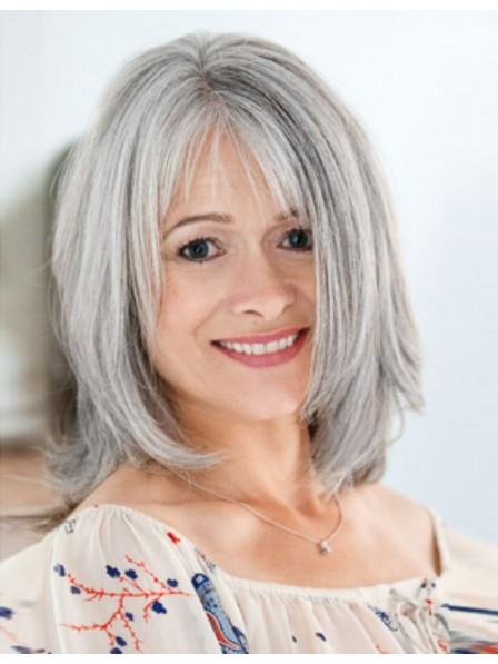 Cute Medium Length Straight Bob Style Grey Wig With Bangs