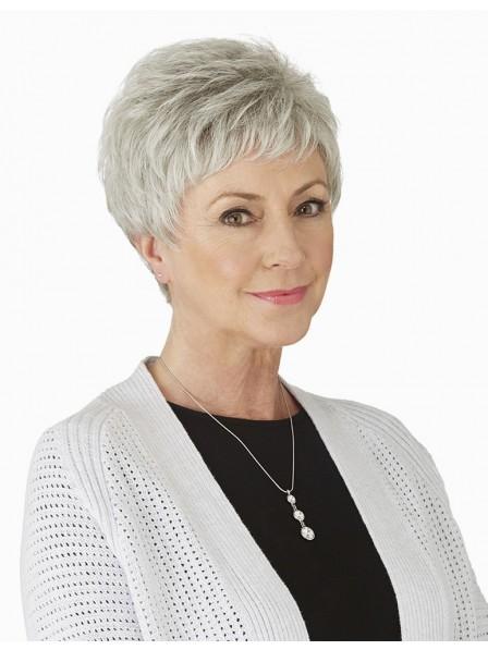 Cute Short Pixie Grey Hair Wig For Older Ladies
