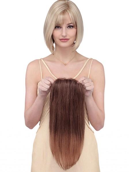Dark Brown Human Hair Mono Top Pieces for Thinning Hair