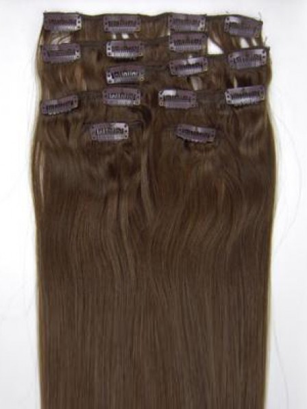 Straight Brown Human Hair Clip In Hair Extensions All Length