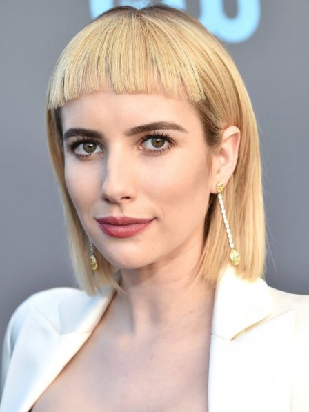 Emma Roberts Blonde Bob Style Human Hair Wigs With Bangs Lace Front