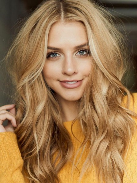 Fashion Long Blonde Wavy Human Hair Celebrity Wigs Lace Front