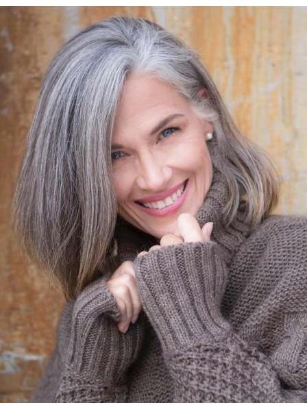 Fashion Older Ladies Medium Grey Hair Wig