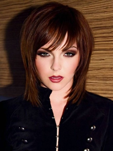 Lace Front Synthetic Celebrity Medium Length Wigs On Sale