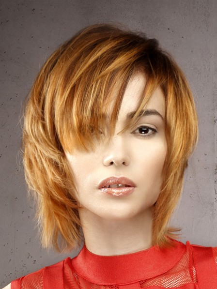 Girls Simple Short Straight Human Hair Wigs With Bangs
