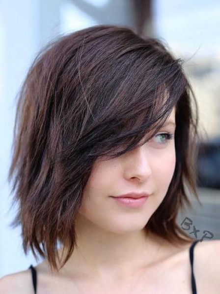Hot Sale Lace Front Straight Human Hair Bob Wigs With Side Bangs
