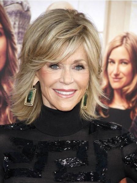 Jane Fonda Shoulder Length Capless Human Hair Celebrity Wigs