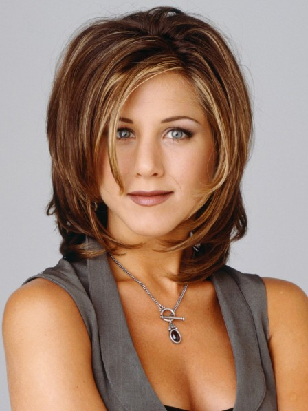 Jennifer Aniston Shoulder Length Human Hair Capless Celebrity Wigs