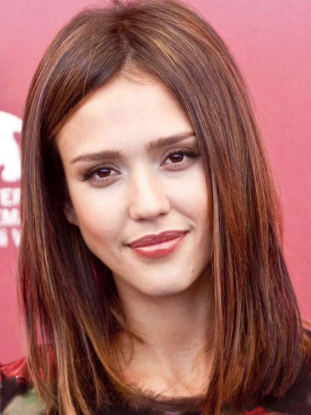 Jessica Alba Shoulder Length Straight Human Hair Wig Lace Front
