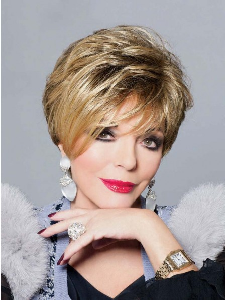 Joan Collins Short Blonde Straight Synthetic Wig