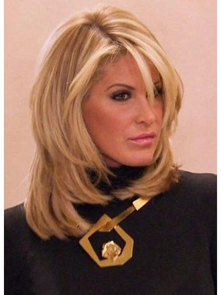 Hot Sale Kim Zolciak Shoulder Length Human Hair Blonde Lace Front Wigs