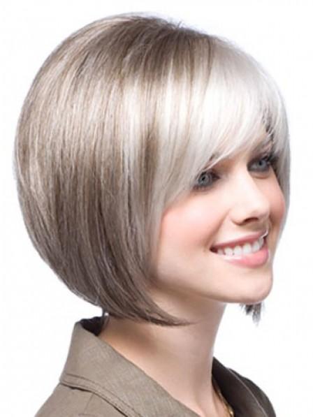 Lace Front Chin Length Straight 100% Human Hair Bob Wigs Mono Top