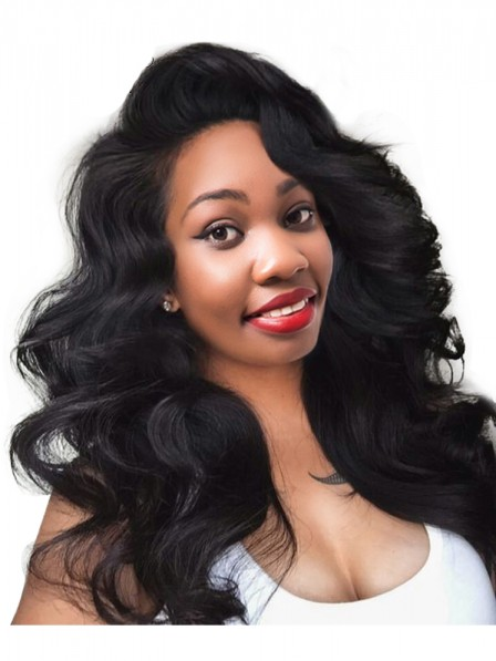 Lace Front Human Hair Wigs For Black Women Natural Black Color