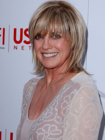 Popular Linda Gray Shoulde Length Hair Celebrity Wigs Lace Front