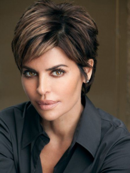 Lisa Rinna Short Straight Cut Human Hair Celebrity Wig