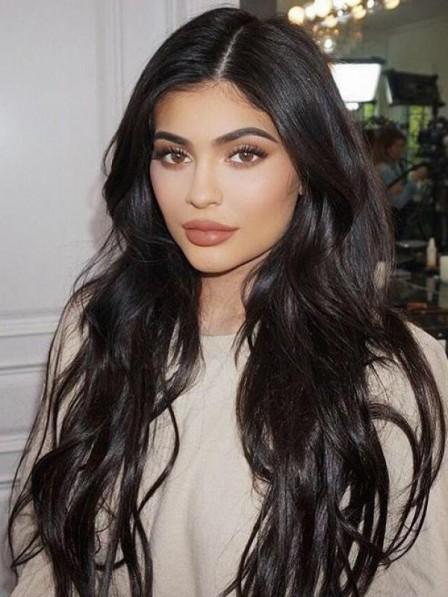 Long Black Modern Lace Front Wavy 100% Human Hair Wigs