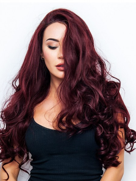 Long Curly Human Hair Lace Front Wigs Mono Top