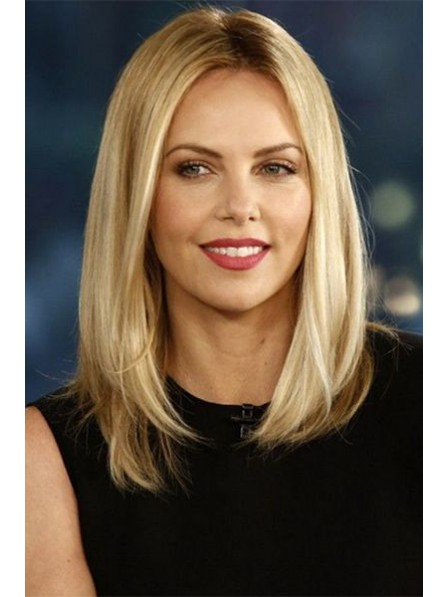Medium Straight Blonde Lace Front Mono Top Human Hair Wig