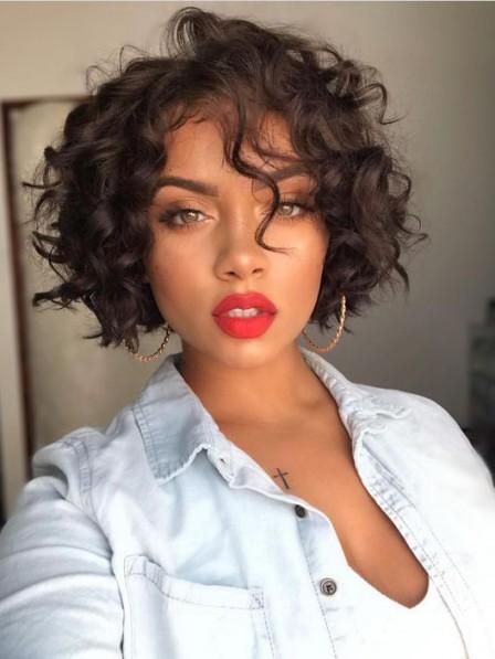 New Chin-length Curly Women Capless Wigs Health Design