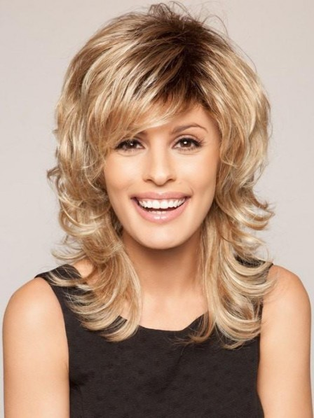 Pretty Mid-Length Blonde Capless Shag Wig With Layers
