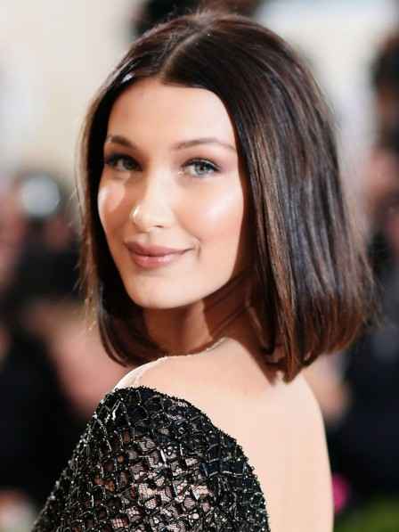 Mid-Length Straight 100% Human Hair Wigs Natural Look