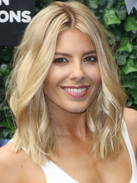 Mollie King's Shoulder Length Blonde Wavy Human Hair Lace Front Wig