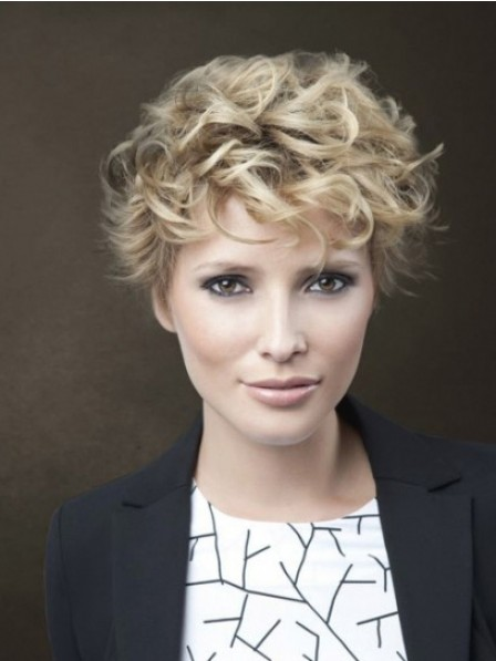 Nice Lace Front Synthetic Celebrity Short Curly Wigs