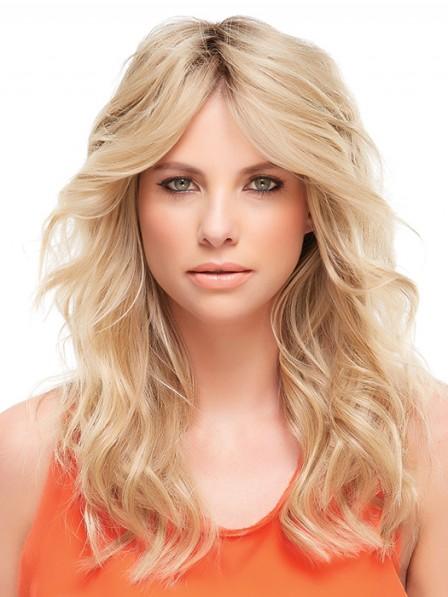 Easy Wear Wavy Blonde 100% Human Hair Mono Hair Pieces