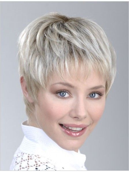 Capless Grey Straight Synthetic Hair Petite Wigs