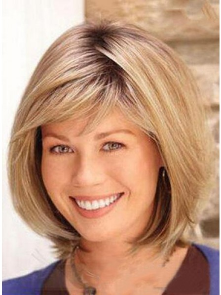 Best Human Hair Lace Front Mono Straight Hair Wig Bob Style